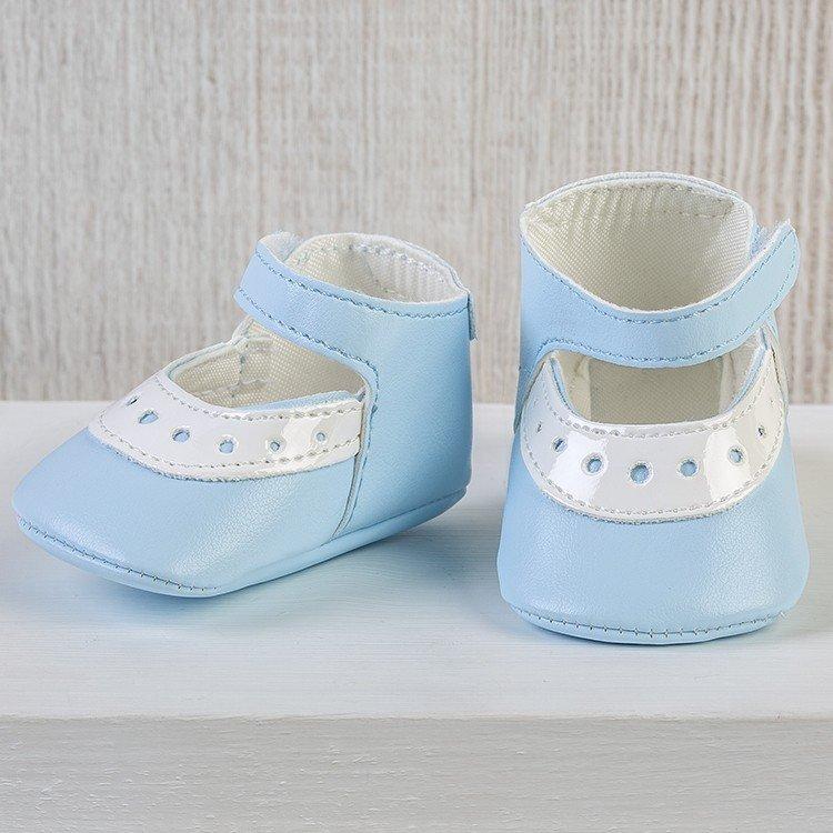 Complementos muñecas Así 43 a 46 cm - Zapatos merceditas mixta celeste para muñecos María, Pablo, Leo y Serie Limitada