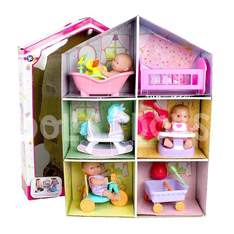 Casita de cartón con muñecas y accesorios - Designed by Berenguer - Lots to Love Babies