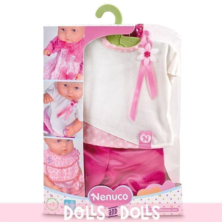 Ropa para muñecos Nenuco 35 cm - Camiseta blanca con pantalón fucsia