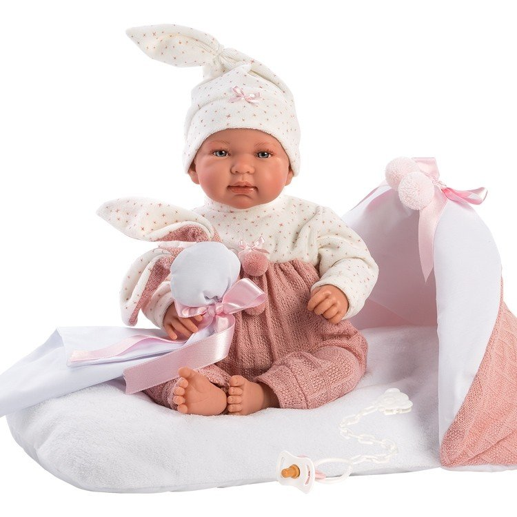 Muñeca Llorens 44 cm - Recién nacida Tina llorona con cambiador rosa