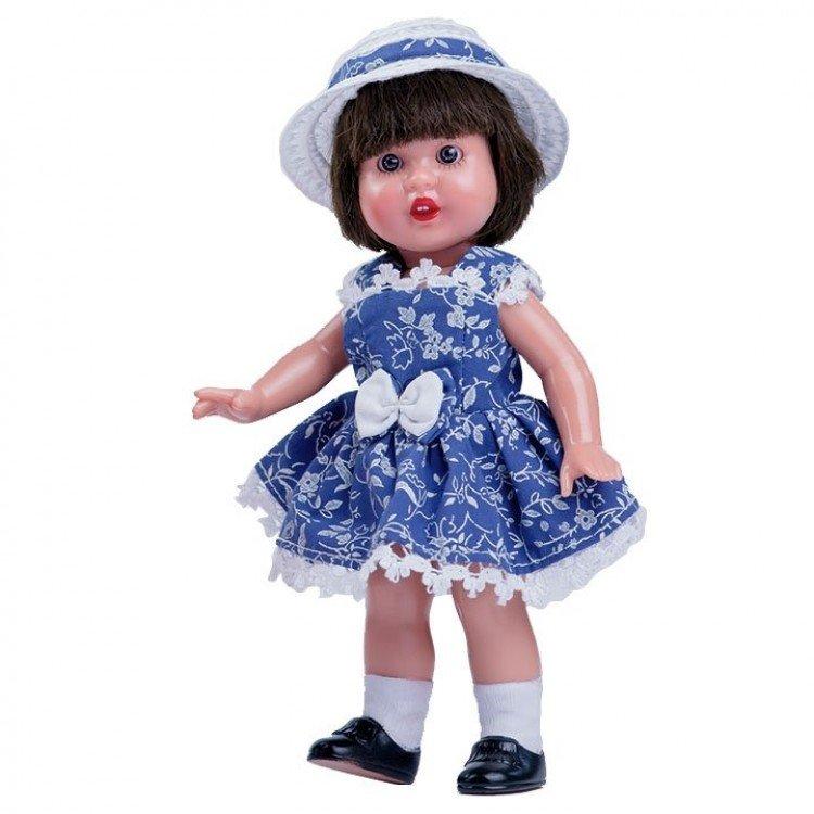 Muñeca Mini Mariquita Pérez 21 cm - Con vestido azul y gorro blanco