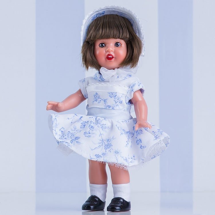 Muñeca Mini Mariquita Pérez 21 cm - Con vestido blanco con flores celestes
