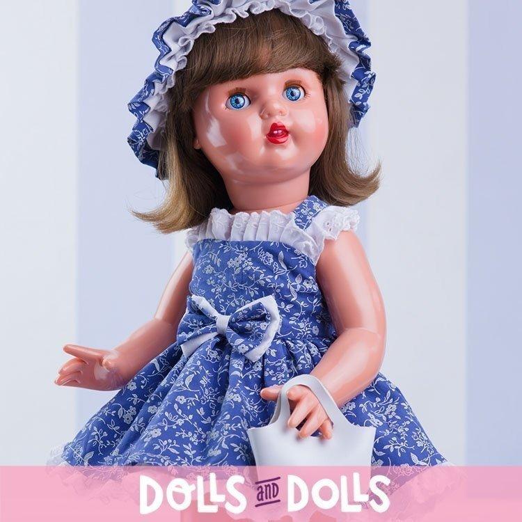 Muñeca Mariquita Pérez 50 cm - Con vestido azul y bolso blanco