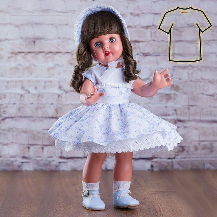64808bbc9 Ropa para muñeca Mariquita Pérez 50 cm - Vestido blanco con flores celestes