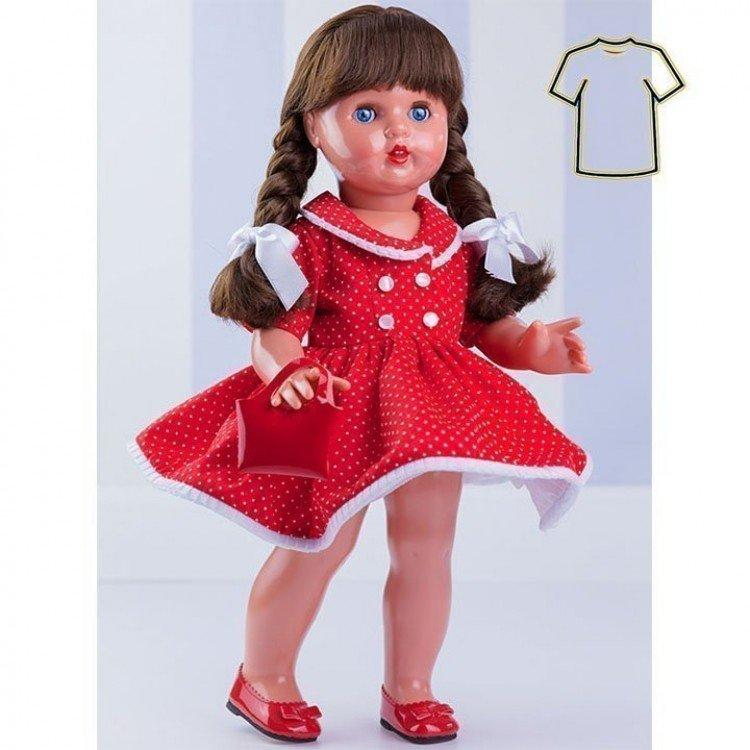 Ropa para muñeca Mariquita Pérez 50 cm - Vestido rojo con topos blancos