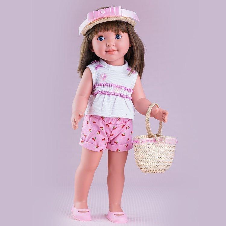 Muñeca Miel de Abeja 45 cm - Carolina con conjunto con pantalón corto rosa con cerezas