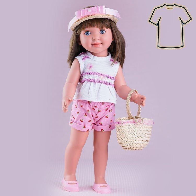 Ropa para muñecas Miel de Abeja 45 cm - Carolina - Conjunto pantalón corto rosa con cerezas