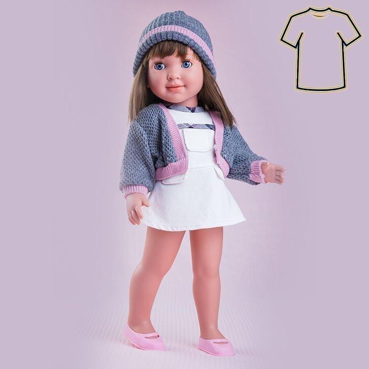 Ropa para muñecas Miel de Abeja 45 cm - Carolina - Vestido beige con chaqueta y gorro gris