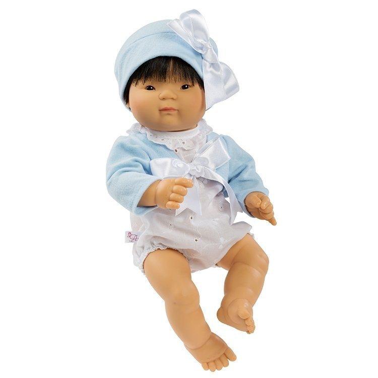 Muñeco Así 36 cm - Chinín con ranita blanca con chaqueta celeste