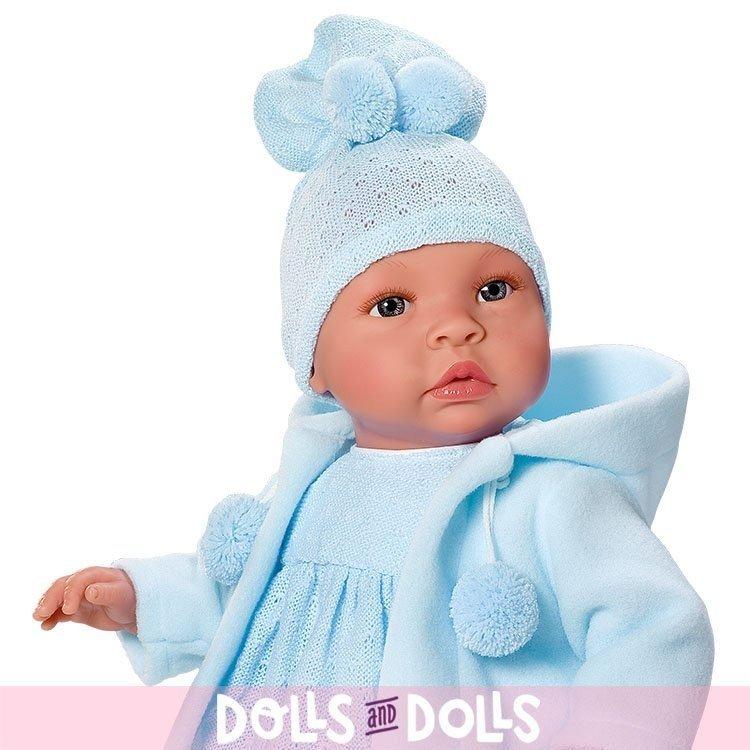 Muñeco Así 46 cm - Leo con pelele azul con trenca azul
