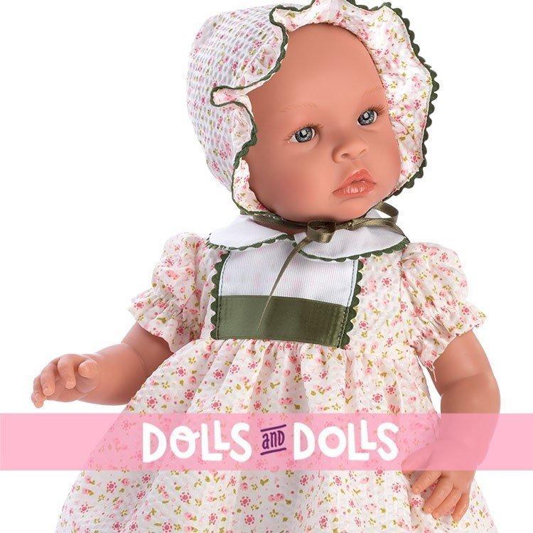 Muñeca Así 46 cm - Leo con vestido de bambula de flores rosa con picunela verde