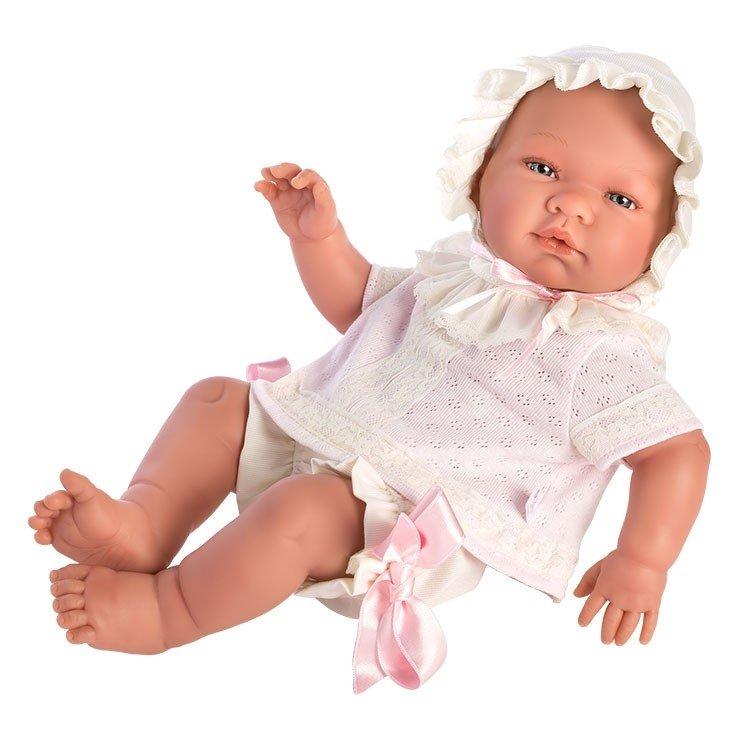 Muñeca Así 43 cm - María con conjunto bebé de punto rosa con puntillas