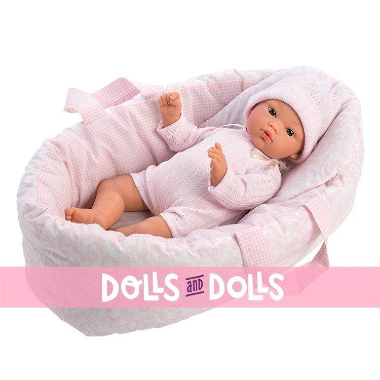 Complementos muñecas Así 30 a 36 cm - Capazo reversible pequeño rosa cachemir