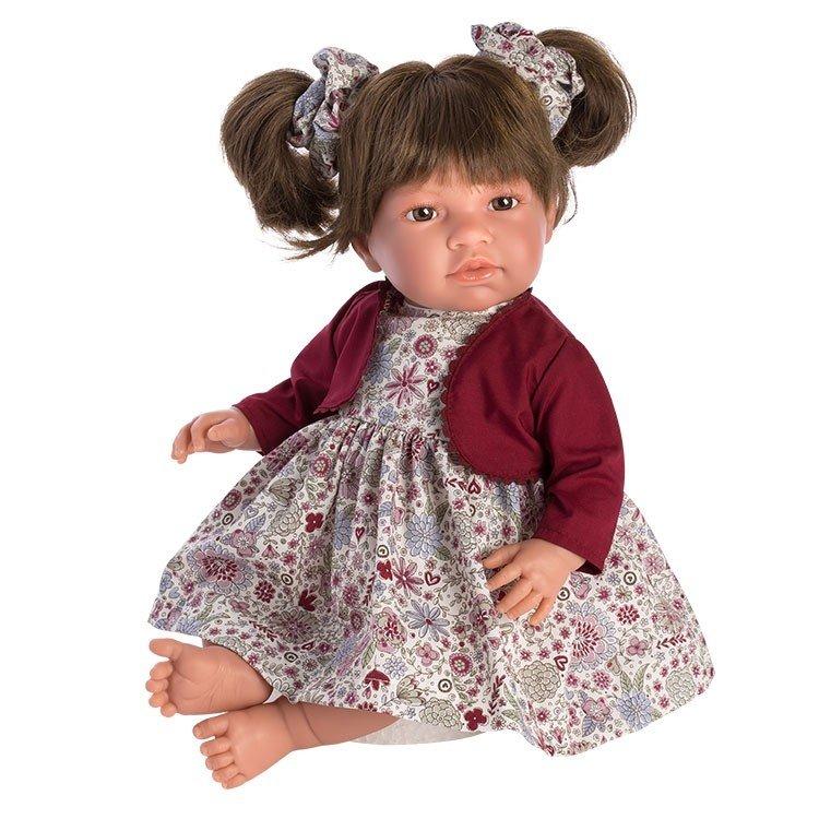 Muñeca Así 46 cm - Noor con vestido de flores granates con chaqueta