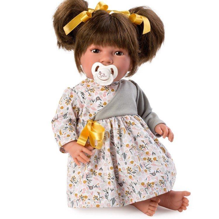 Muñeca Así 46 cm - Noor con vestido de flores grises y rosas