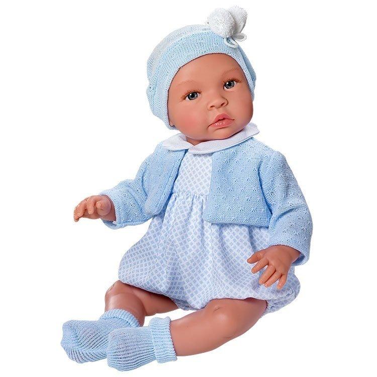 Muñeco Así 46 cm - Leo con ranita de rombos mini celeste con chaqueta celeste