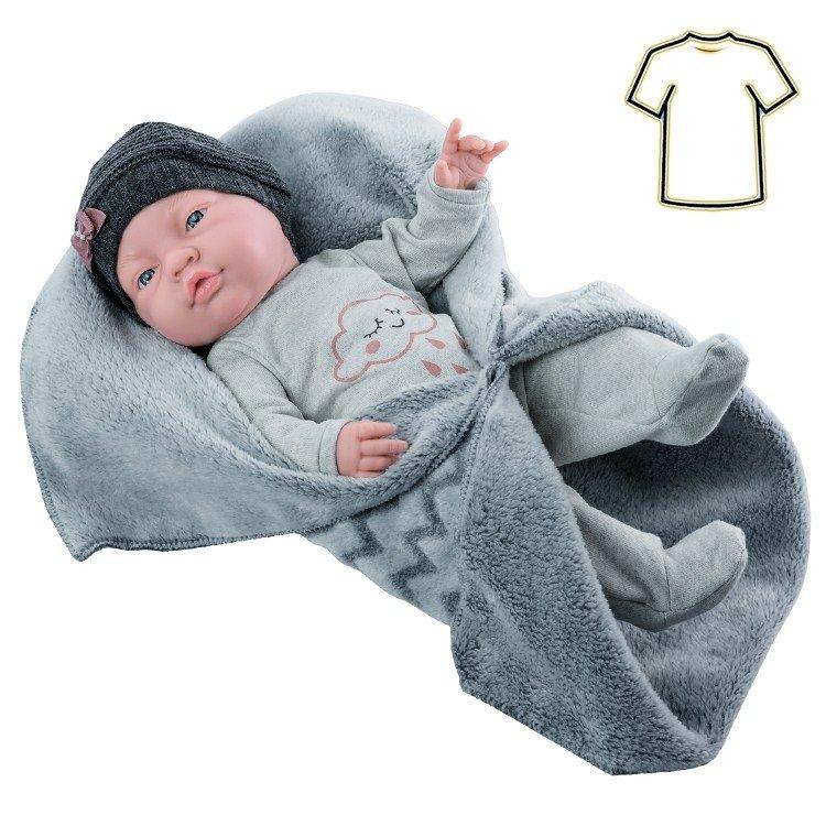 Ropa para muñecas Paola Reina 45 cm - Bebitos - Pelele gris con mantita y gorro