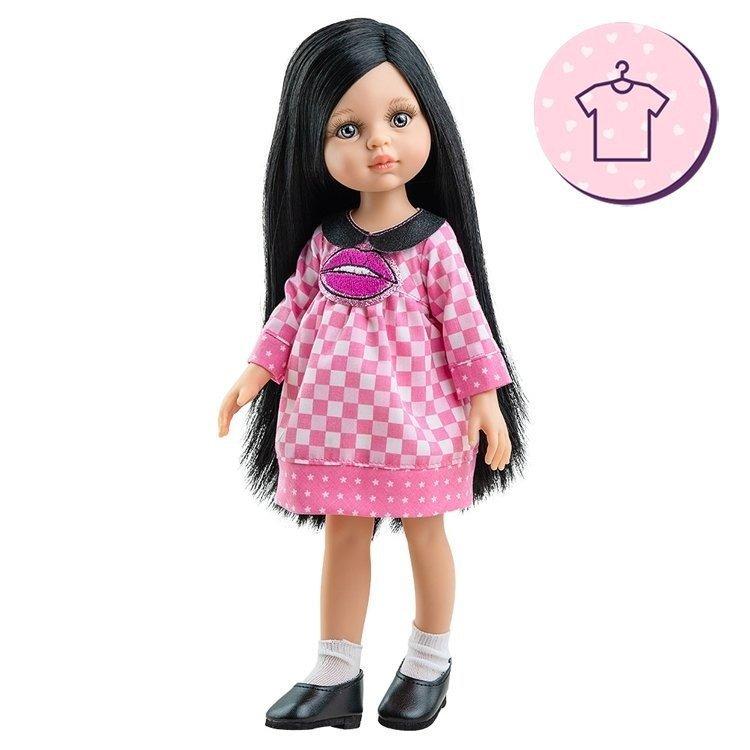 Ropa para muñecas Paola Reina 32 cm - Las Amigas - Vestido Carina de cuadros con beso