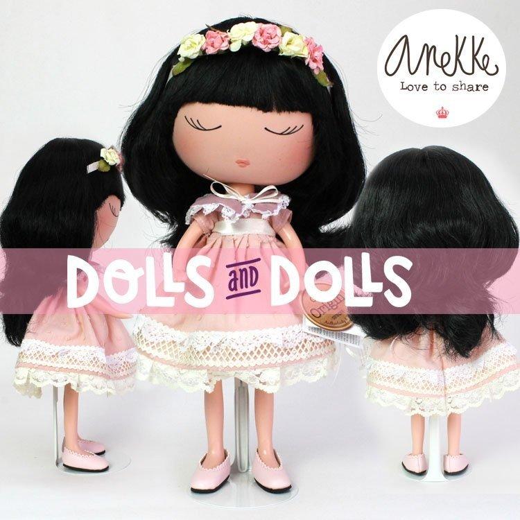Peana metálica 2299 color rosa para muñecas tipo Barbie