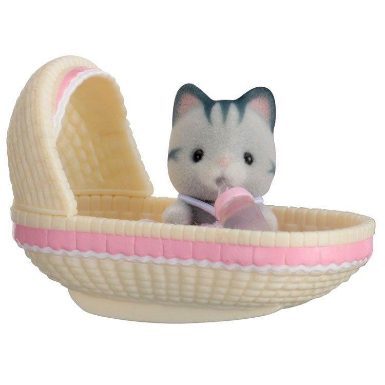 Sylvanian Families - Bebé para llevar - Gato en cuna