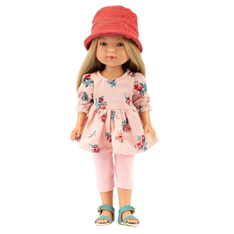 Muñeca Vestida de Azul 28 cm - Carlota con jeans rosa, vestido de flores y sombrero