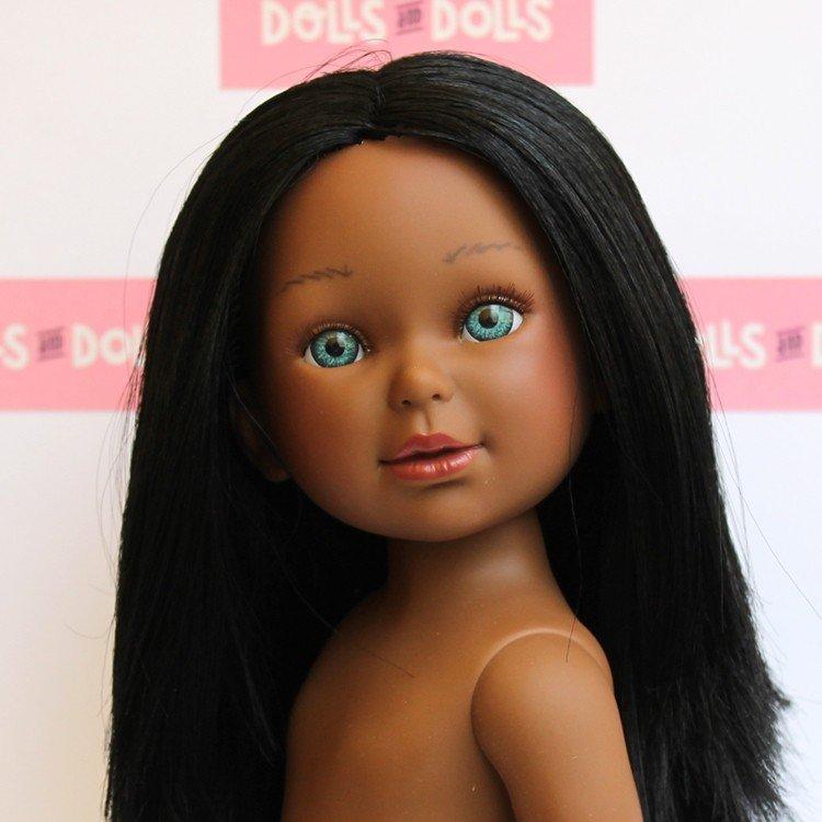 Muñeca Vestida de Azul 33 cm - Paulina negra con melena lisa sin ropa