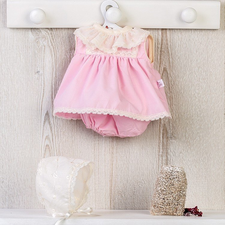 Ropa para Muñecas Así 36 cm - Vestido rosa con capota bordada beige para muñeca Koke