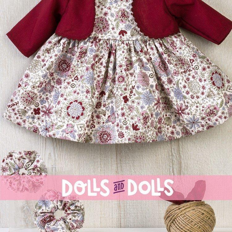 Ropa para Muñecas Así 46 cm - Vestido de flores granates con chaqueta para muñeca Noor