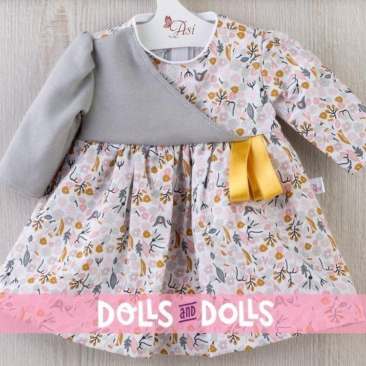 Ropa para Muñecas Así 46 cm - Vestido de flores grises y rosas para muñeca Noor