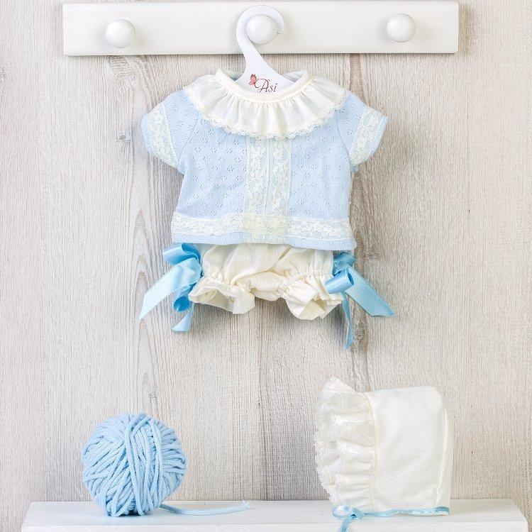 Ropa para Muñecas Así 43 cm - Conjunto bebé de punto celeste con puntillas con gorro para muñeco Pablo