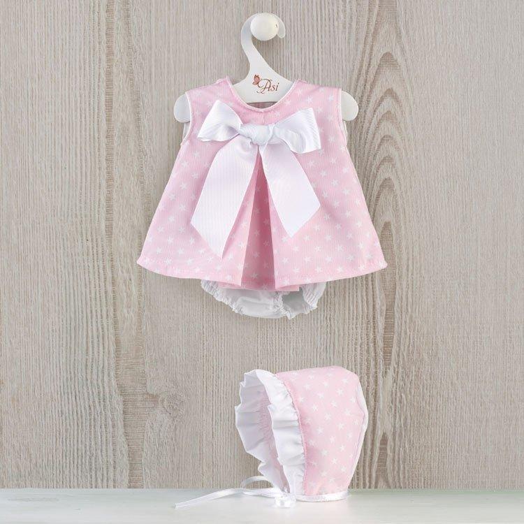 Ropa para Muñecas Así 46 cm - Vestido jesusito rosa con estrellas blancas para muñeca Leo