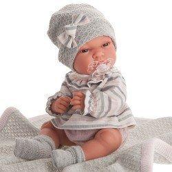 Muñeca Antonio Juan 33 cm - Baby Toneta con toquilla gris