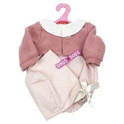 Ropa para muñecos Antonio Juan 40-42 cm - Pelele de rayas rosa con capota y chaqueta