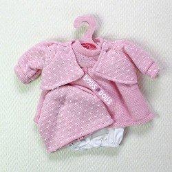 Ropa para muñecas Antonio Juan 33-34 cm - Vestido de punto rosa moteado en blanco con chaqueta y gorro