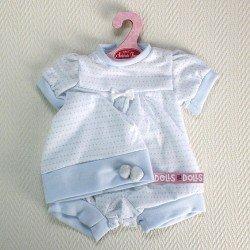 Ropa para muñecos Antonio Juan - Pelele con gorro blanco y azul moteado 40-42 cm