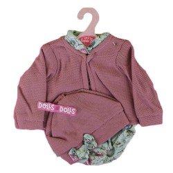 Ropa para muñecos Antonio Juan 40-42 cm - Conjunto estampado de flores con chaqueta y gorro