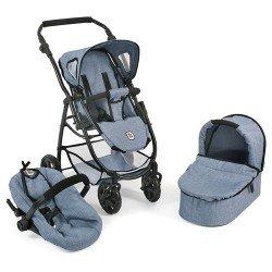 Cochecito 77 cm Emotion 3 en 1 para muñecas - Combi silla, capazo y silla de auto Bayer Chic 2000 - Azul vaquero