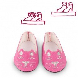 Complementos para muñeca Götz 42-50 cm - Zapatos Bailarina de Gatito Rosa