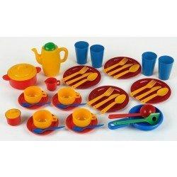 Klein 9235 - Set de utensilios de cocina, comida y café juguete