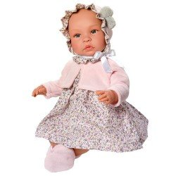 Muñeca Así 46 cm - Leo con vestido de flores grises con chaqueta rosa