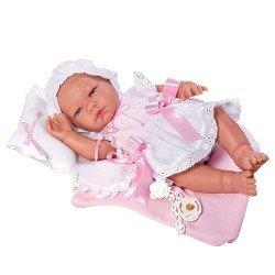 Muñeca Así 43 cm - María con vestido blanco de punto rosa con almohada