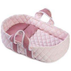 Complementos muñecas Así 36 cm - Capazo mediano rosa con estrellas blancas