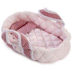 Complementos muñecas Así 20 cm - Capazo pequeño rosa con estrellas blancas