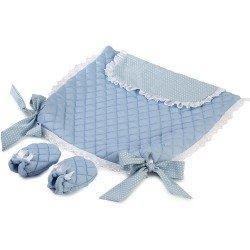 Complementos muñecas Así - Cubrepiés azul con estrellas blancas y manoplas