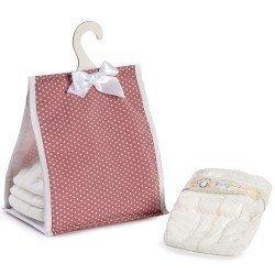 Complementos muñecas Así - Portapañales rosa con estrellas blancas