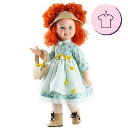 Ropa para muñecas Paola Reina 60 cm - Las Reinas - Vestido Sandra verde mar y bolso
