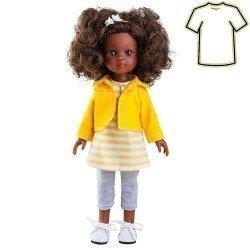 Ropa para muñeca Paola Reina 32 cm - Las Amigas - Conjunto con chaqueta amarilla y pantalón gris de Nora