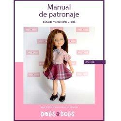 Patrón descargable Dolls And Dolls para muñecas Las Amigas - Blusa de manga corta con falda de capa