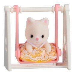Sylvanian Families - Bebé para llevar - Gato en columpio
