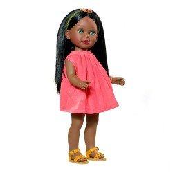 Muñeca Vestida de Azul 33 cm - Paulina negra con vestido rosa
